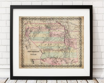 1855 Utah Map, New Mexico Map, Vintage Map Art, Antique Map Print, Wall Art, Map of Utah, Old Map, Map Poster, Map of New Mexico, Gifts