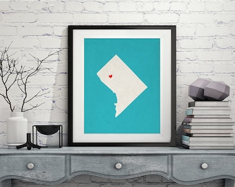Custom Washington DC State Art, Customized State Map Art, Personalized, Washington DC Art, Heart Map, Washington DC Map, Washington dc Print