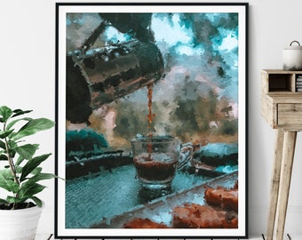 Coffee Print - Coffee Gift, Cafe Art, Coffee Bar Decor, Oil Painting Poster, Kitchen Wall Art, Breakfast Nook Wall Decor, Pot Kettle Cup