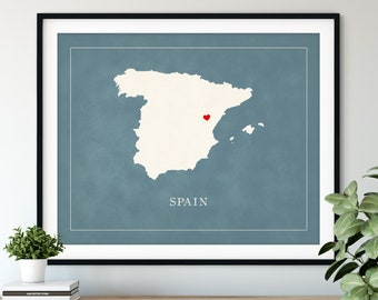 Custom Spain Map Art - Heart Over ANY City - Customized Country Map Silhouette, Personalized Gift, Hometown Love Print Travel Heart Map
