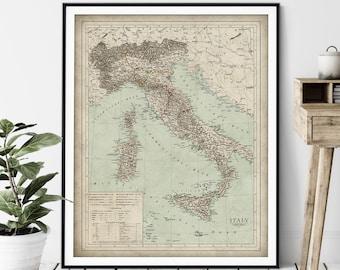 1859 Italy Map Print - Vintage German Map Art, Antique Map, Old Map Poster, Sardinia Wall Art, Italian Gift, Malta, Corsica, Naples, Sicily