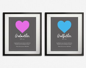 Godparent Print Set, Gifts for Godparents, Godparent Gifts, Godfather & Godmother Art, Personalized Gift, Custom Gift, Godparent Poem, Quote