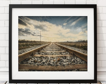 Railroad Tracks Print, Train Tracks Print, Train Track Art, Rustic Wall Art, Office Wall Decor, Vintage Railroad Art, Painting, Photo, Gift