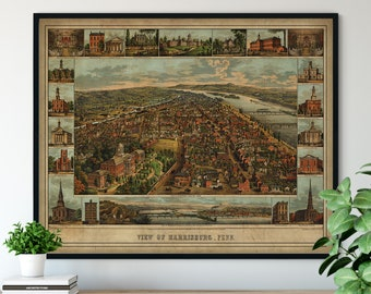 1855 Harrisburg Pennsylvania Birds Eye View Print - Vintage Map Art, Antique Map Print, Aerial View Poster, Historical Art, PA Wall Art