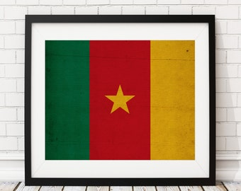 Cameroon Flag Art, Cameroon Flag Print, Flag Poster, Country Flags, Flag Painting, Africa Wall Decor, African Gifts, Flag Wall Art