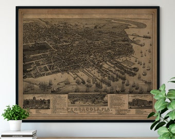 1885 Pensacola Florida Birds Eye View Print - Vintage Map Art, Antique Street Map Print, Aerial View Poster, Historical Art, FL Wall Art