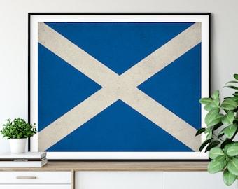 Scotland Flag Art, Scotland Flag Print, Flag Poster, Country Flags, Painting, Scottish Flag, Scottish Gifts, Scotland Print, Scotland Art