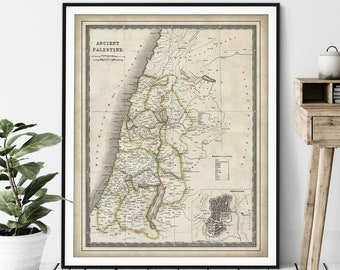 1844 Ancient Palestine Map Print, 12 Tribes of Israel Map, Vintage Biblical Map Art, Antique Jerusalem Map, Old Map, Holy Land, Judaea