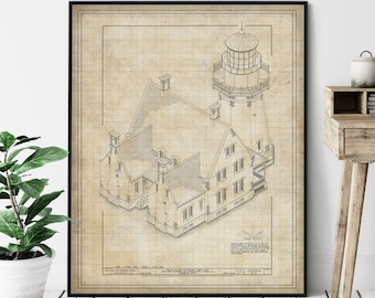 Block Island Lighthouse Elevation Print - South East Lighthouse Art, Architectural Drawing, Nautical Wall Decor, Coastal Print, Rhode Island