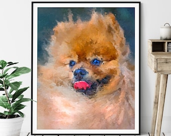 Pomeranian Print, Pomeranian Art, Pomeranian Gifts, Dog Portrait, Cute Pet Oil Painting, Dog Lover Gift, Dog Decor, Dog Mom, Dad Wall Art