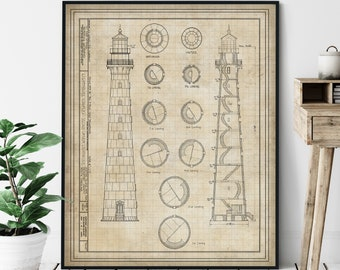 Hunting Island Lighthouse Elevation Print - Lighthouse Art, Architectural Drawing, Nautical Wall Decor, Coastal Wall Art, Technical Diagram