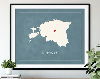 Custom Estonia Map Art - Heart Over ANY City - Customized Country Map Silhouette, Personalized Gift, Hometown Love Print, Travel Heart Map