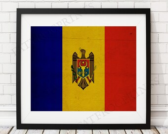 Moldova Flag Print, Moldova Flag Art, Moldova Gifts, Flag Poster, Moving Gift, Vintage Flag Wall Art, Moldova Art, Europe, European Gifts