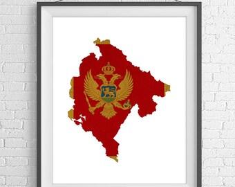 Montenegro Flag Map Print, Montenegro Map, Montenegro Silhouette, Housewarming Gift, Vintage Flag Poster, Map Wall Art, Map of Montenegro