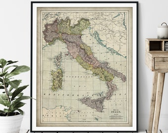 1897 Italy Map Print - Vintage Map Art, Antique Map Wall Art, Old Map Poster, Italian Gift, Sardinia, Corsica, Umbria, Tuscany, Sicily, Rome