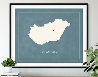 Custom Hungary Map Art - Heart Over ANY City - Customized Country Map Silhouette, Personalized Gift, Hometown Love Print, Travel Heart Map