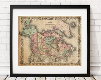 1855 Canada Map, British Possession Map, North America Map, Vintage Map Art, Antique Map Print, Wall Art, History Gift, Old Maps, Map Poster