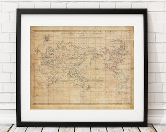 1799 World Map Print, Vintage Map Art, Antique Map, Hemispheres, History  Gift, Antique World Map Wall Art, Old Map, Map Of The World, Poster