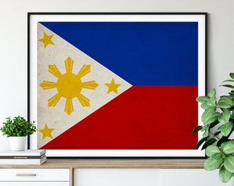 Philippines Flag Art,  Philippines Flag Print, Flag Poster, Country Flags, Flag Painting, Living Room Art, Housewarming Gifts, Filipino Art