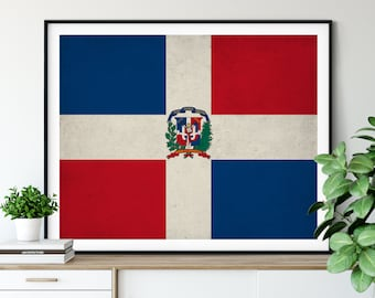 Dominican Republic Flag Art, Dominican Flag Print, Flag Poster, Country Flags, Flag Painting, Dominican Gifts, Wall Art, Wall Decor