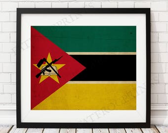 Mozambique Flag Print, Mozambique Flag Art, Mozambique Gifts, Flag Poster, Housewarming Gift, African Wall Art, Mozambique Painting
