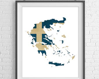 Greece Flag Map Print, Greek Flag Poster, Greece Map, Greece Silhouette, Moving Gift, Wall Art, Map of Greece Print, Greek Art, Greek Gift