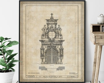 Mission San Jose y San Miguel de Aguayo Elevation Print - Historic Catholic Church Blueprint, Architectural Drawing, San Antonio Print, Gift