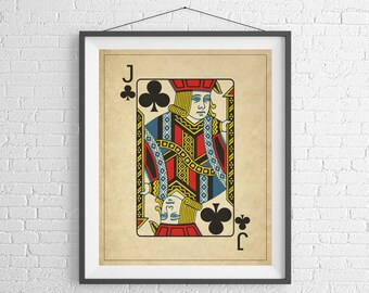 Jack of Clubs, Playing Card Art, Game Room Decor, Game Room Art, Poker Gifts, Gambling Gift, Vintage Wall Art, Man Cave Art, Bar Decor