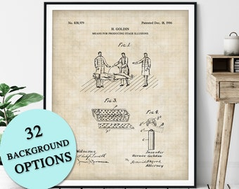 Levitation Stage Illusion Patent Print - Customizable Magician Blueprint Plan, Aspiring Magician Gift, Magic Trick Poster, Magic Art, Poster
