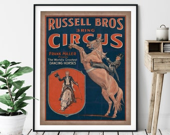 Vintage Circus Print - Antique Circus Poster, 3 Ring Circus Art, Retro Circus Wall Art, Dancing Horses, Equestrian Gift, Horse Wall Decor