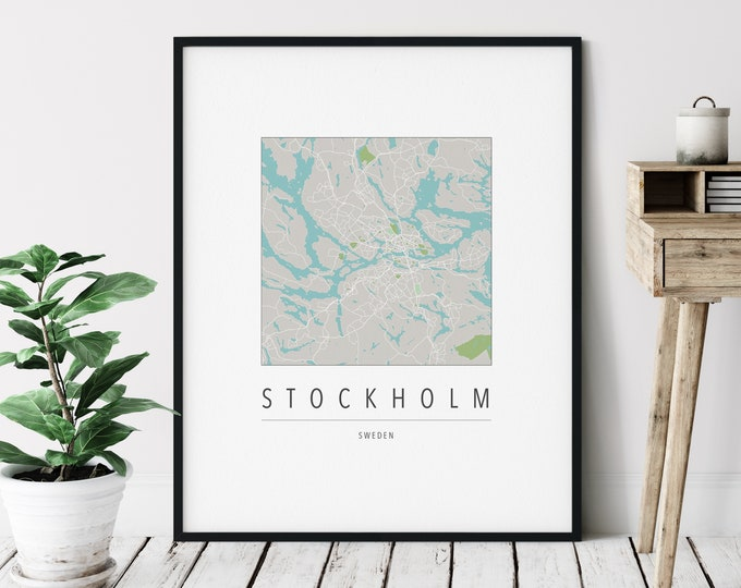 Featured listing image: Stockholm Map Print - Modern Stockholm Art, Minimalist Stockholm Print, Stockholm Gifts, Stockholm Sweden, Stockholm Wall Art, Living Room