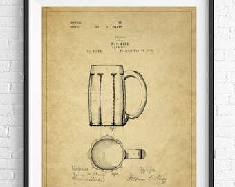 Beer Mug Patent Print, Beer Stein Patent, Beer Art, Beer Gifts, Bar Decor, Bar Art, Vintage Patent Poster, Gifts for Him, Man Cave Wall Art