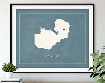 Custom Zambia Map Art, Heart Over ANY City, Customized Country Map Silhouette, Personalized Gift Hometown Love Print Travel Heart Map Decor