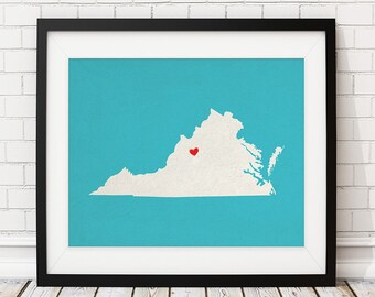 Custom Virginia State Art, Customized State Map Art, Personalized Gift, Virginia Art, VA Heart Map, Virginia Map, Virginia Print