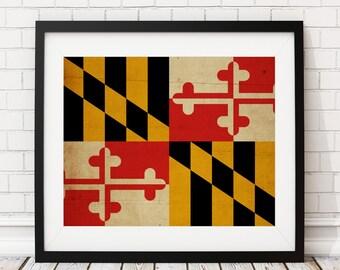Maryland Flag Art, Maryland Flag Print, Poster, State Flags, Flag Painting, Maryland Art, Baltimore Art, Maryland Gifts, Maryland Wall Art