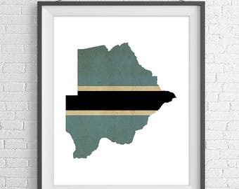 Botswana Flag Map Print, Botswana Map, Gabrone Botswana Silhouette, Moving Gift, Housewarming Gift, Vintage Flag Poster, African Wall Art