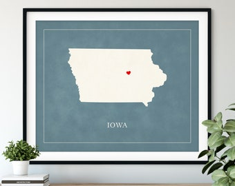 Custom Iowa Map Art - Heart Over ANY City - Customized State Map Silhouette, Personalized Gift, Hometown Love Print, Travel Heart Map