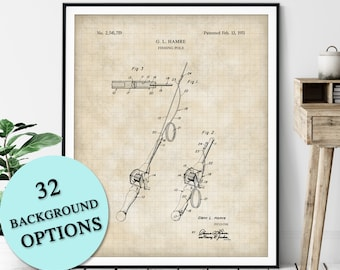 Fishing Pole Patent Print - Customizable Fishing Rod Blueprint Plan, Fisherman Gift, Gifts for Dad, Fisher Poster, Fish Angling Wall Art