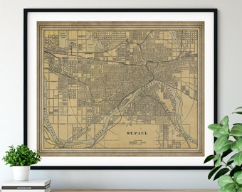 1901 St Paul Minnesota Map Print, Vintage St Paul Map Art, Antique St Paul MN Street Map, St Paul Art, Old Maps, St Paul Print, Gift