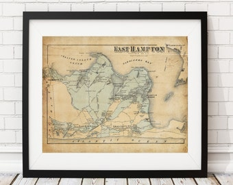 1873 East Hampton Map, Hamptons Map, Vintage Map Art, Antique Map Print, Old Map, Map of the Hamptons, Map of East Hampton, Long Island, NY