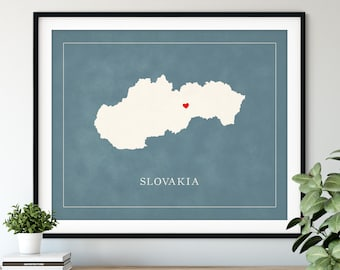 Custom Slovakia Map Art - Heart Over ANY City - Customized Country Map Silhouette, Personalized Gift, Hometown Love Print Travel Heart Map