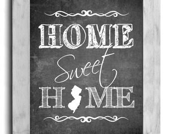 New Jersey Art, Home Sweet Home Print, State Print, State Art, Map Art, Chalkboard Print, Housewarming Gift, Shabby Chic Wall Decor, Cottage