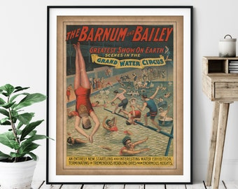 1895 Vintage Barnum & Bailey Print - Antique Water Circus Poster, Circus Art, Circus Print, Swimmer Art, Circus Print, Swimming Gift, Diver