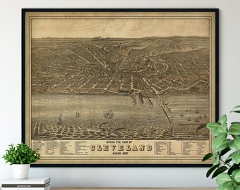 1877 Cleveland Ohio Birds Eye View Print - Vintage Map Art, Antique Map Print, Aerial View Poster, Historical Art, Ohio Wall Art, Street Map