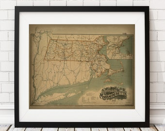 1899 Massachusetts Map Print, Railroad Map, Vintage Map Art, Antique Map Wall Decor, Wall Art, Train Print, History Gift, State Map