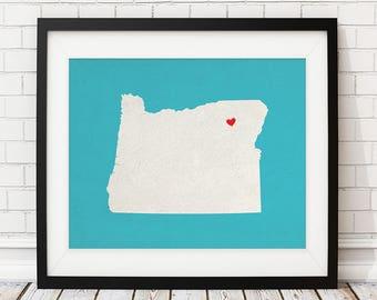 Custom Oregon State Art, Customized State Map Art, Personalized Gift, Oregon Art, Heart Map, Oregon Map, Hometown Love Map, Oregon Print