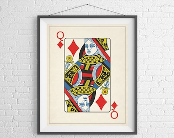 Queen of Diamonds, Playing Card Art, Game Room Decor, Game Room Art, Poker Gifts, Gambling Gift, Vintage Wall Art, Man Cave Art, Bar Decor