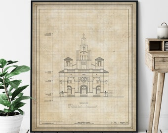 Gesu Church Elevation Print - Roman Catholic Church Print, Historic Landmark Blueprint, Architecture Plan, Architectural Drawing, Church Art
