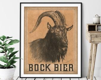 1884 Vintage Bock Beer Print - Antique Beer Ad, Beer Art, Gifts for Men, Beer Poster, Beer Wall Art, Wet Bar Art, Bar Decor, Mountain Goat