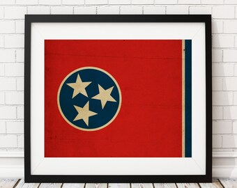 Tennessee Flag Art, Tennessee Flag Print, Flag Poster, TN State Flag, Housewarming Gift, Tennessee Art, Tennessee Print, State Pride Art